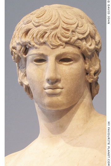 Detail of the Antinous as Agathos Daimon statue at My Favourite Planet