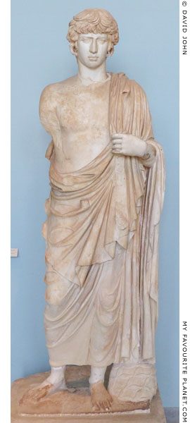 A Marble statue of Antinous as Dionysus or Asklepios, Eleusis, Greece at My Favourite Planet
