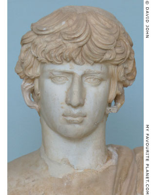 Detail of the Antinous statue in Eleusis at My Favourite Planet