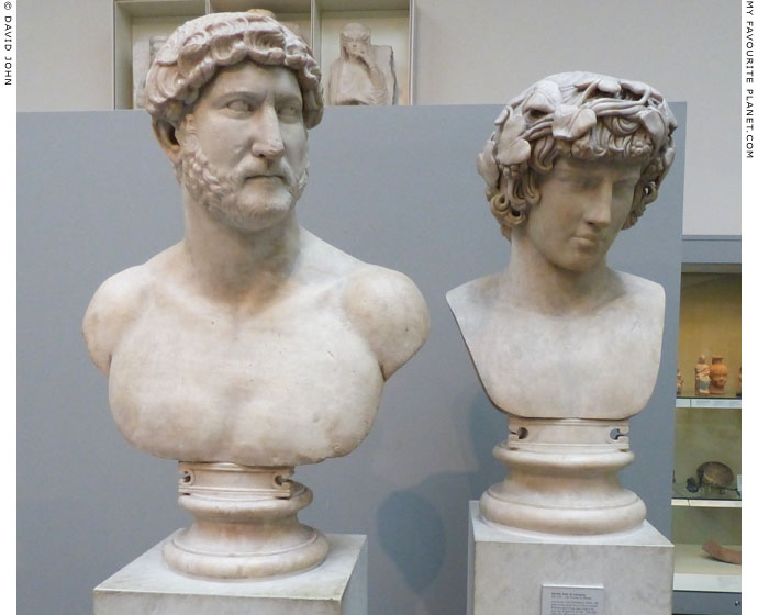 Busts of Hadrian and Antinous exhibited together in the British Museum at My Favourite Planet