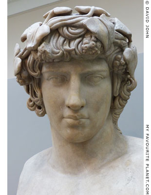 The Townley Antinous, marble bust of Antinous as Dionysus, British Museum at My Favourite Planet