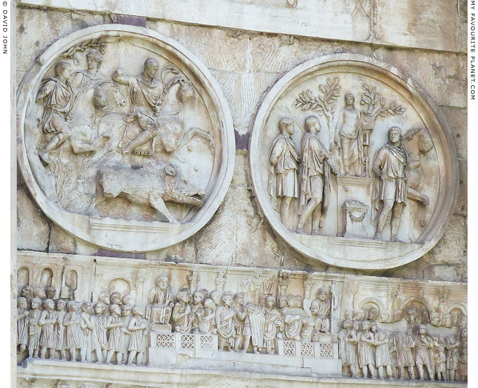 Two of the tondos on the north face of the Arch of Constantine, Rome at My Favourite Planet