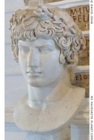 Marble bust of Antinous as Dionysus, Capitoline Museums, Rome at My Favourite Planet
