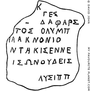 The signature of the sculptor Lysippos at My Favourite Planet