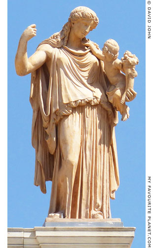 A modern copy of the statue of Eirene holding the infant Ploutos, National Archaeological Museum, Athens at My Favourite Planet