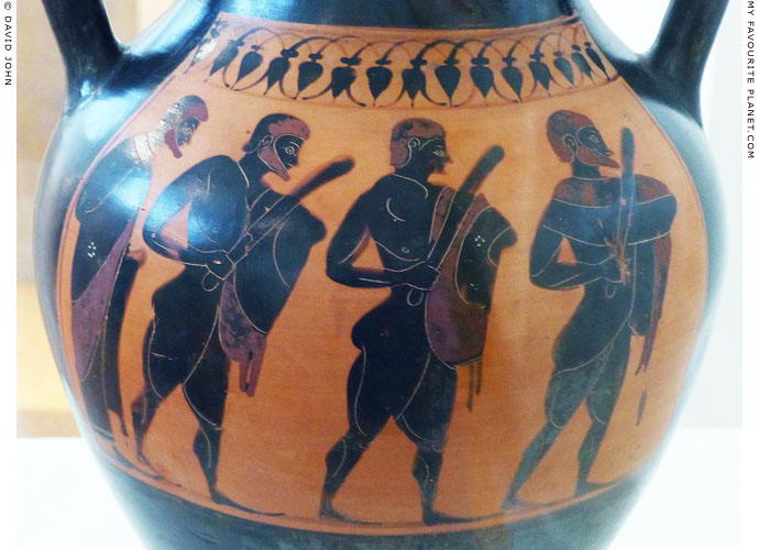 Peisistratos' guard on an Attic black figure amphora at My Favourite Planet