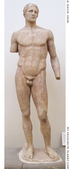 The marble statue of Hagias of Pharsalos in Delphi at My Favourite Planet