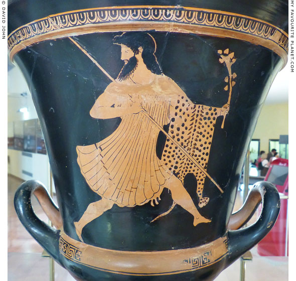 Dionysus running on a red-figure calyx-krater at My Favourite Planet