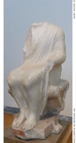 Marble statue of a seated Dionysus found in Athens at My Favourite Planet