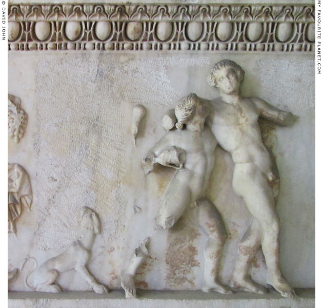 Sarcophagus relief of drunken Dionysus supported by a Satyr at My Favourite Planet