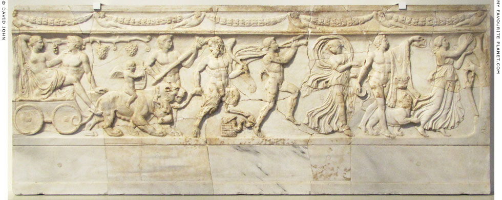 Relief of a procession with Dionysus and Ariadne in a panther chariot at My Favourite Planet