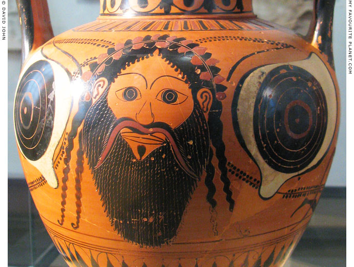 Dionysus mask on an Attic amphora at My Favourite Planet