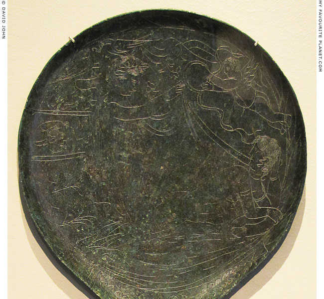 A pair of lovers on an Etruscan bronze mirror at My Favourite Planet