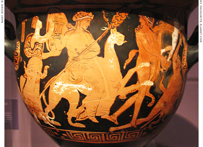 Attic ceramic bell krater depicting Dionysus riding a panther, Pergamon Museum, Berlin at My Favourite Planet
