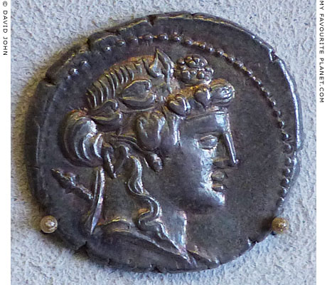 The head of Dionysus/Bacchus on a Roman denarius at My Favourite Planet