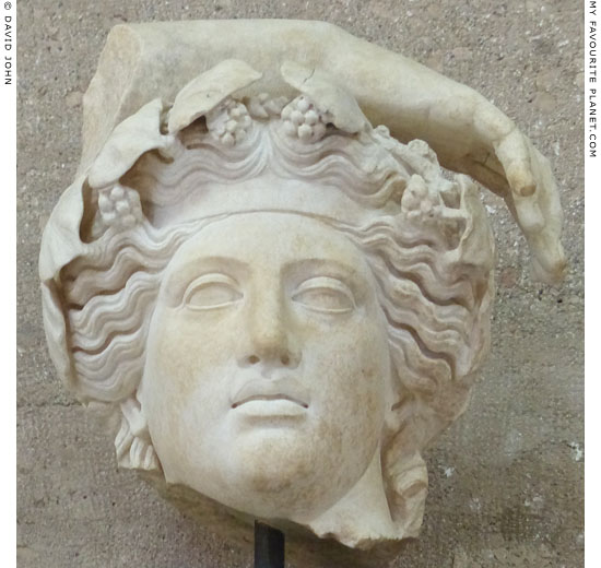A marble head of Dionysus from ancient Corinth at My Favourite Planet