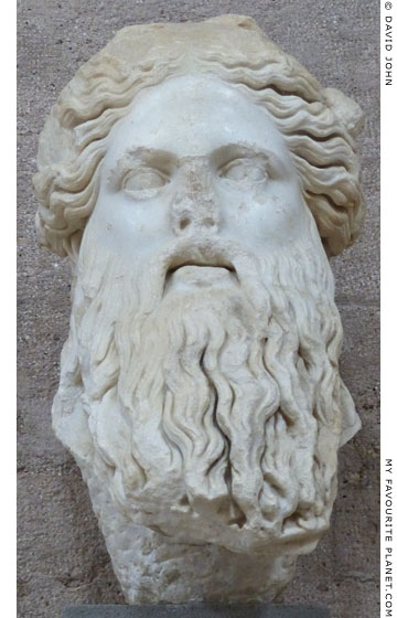 Marble head of bearded Dionysus from Corinth at My Favourite Planet