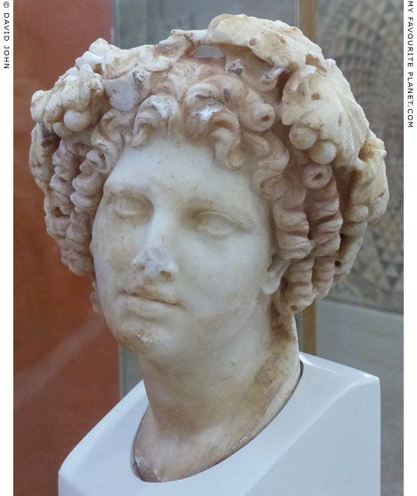 Marble head of Dionysus from the Temple of Octavia, Corinth at My Favourite Planet