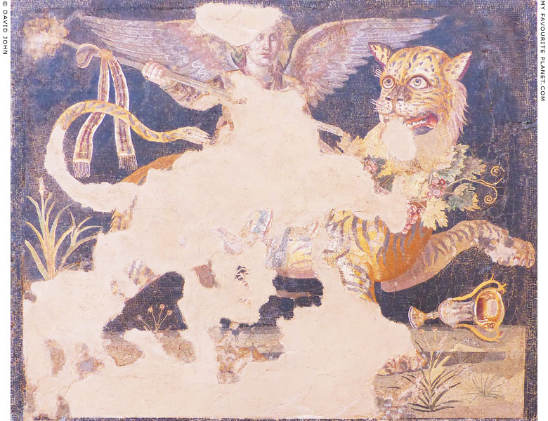 Mosaic depicting Dionysus riding a tiger, Delos, Greece at My Favourite Planet