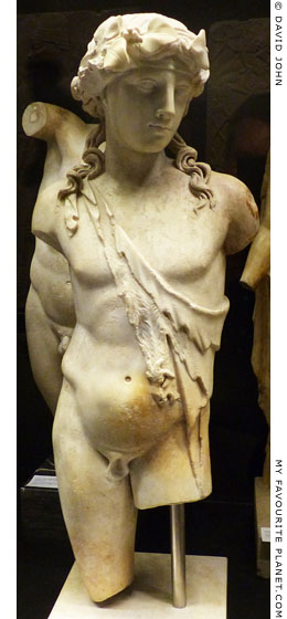 Marble statuette of Dionysus wearing a nebris in Dresden at My Favourite Planet