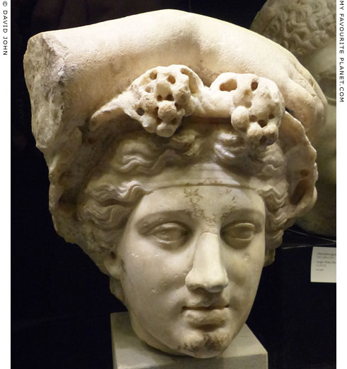 A marble head of Dionysus with his right arm resting on top of it at My Favourite Planet