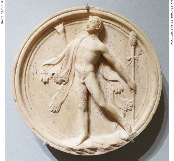 A dancing Satyr on a marble oscillum at My Favourite Planet