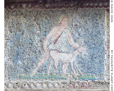 A male figure bringing a goat to sacrifice in a mosaic, Herculaneum at My Favourite Planet