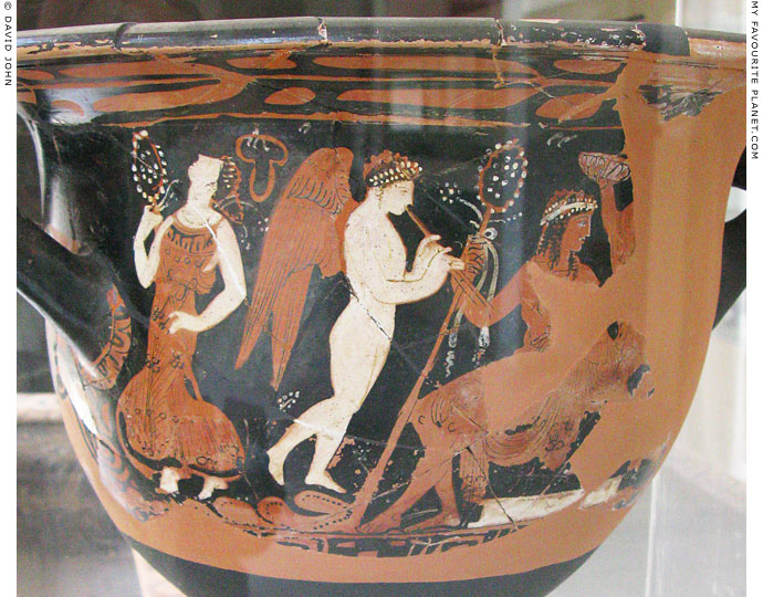 Detail of a red-figure bell krater showing Dionysus with his thiasos at My Favourite Planet