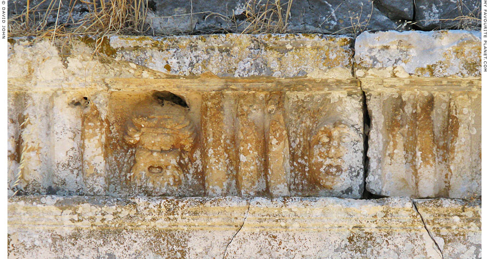 Reliefs of theatrical masks at the theatre in the Sanctuary of Leto, Letoon, Lycia at My Favourite Planet