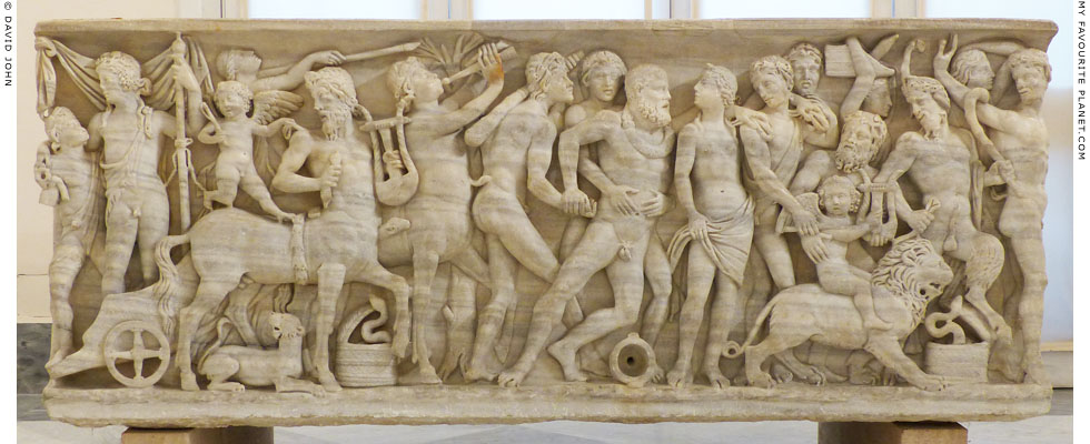 Relief of drunken Hercules in a triumph of Dionysus in Naples at My Favourite Planet