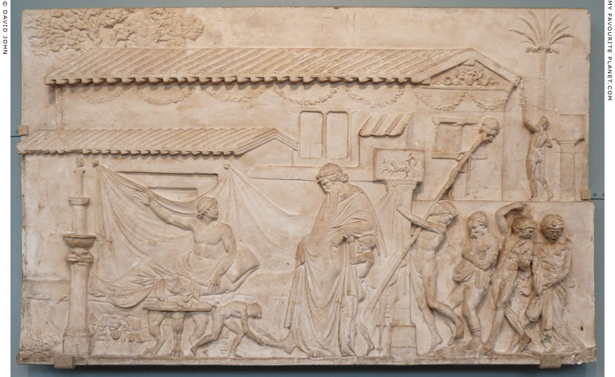 An Ikarios relief showing Dionysus visiting the house of a poet, Ashmolean Museum, Oxford at My Favourite Planet