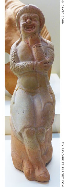 A terracotta figurine of an actor wearing the costume of Papposilenos at My Favourite Planet