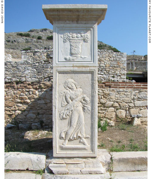 Relief of a dancing Maenad on a pillar in front of the theatre at Philippi, Macedonia, Greece at My Favourite Planet