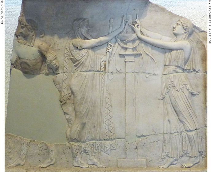 Fragmentary marble Neo-Attic relief of Dionysus and a priestess at My Favourite Planet