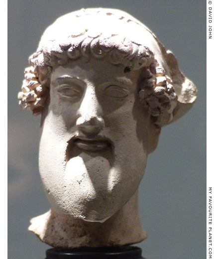 Small ceramic head of Dionysus from Taranto, southern Italy at My Favourite Planet