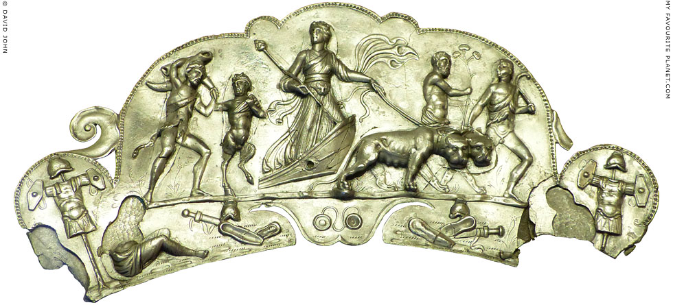 Silver tray handle with the Indian Triumph of Dionysus at My Favourite Planet