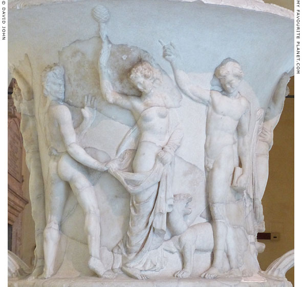 A marble relief with a Maenad and two Satyrs at erotic play at My Favourite Planet