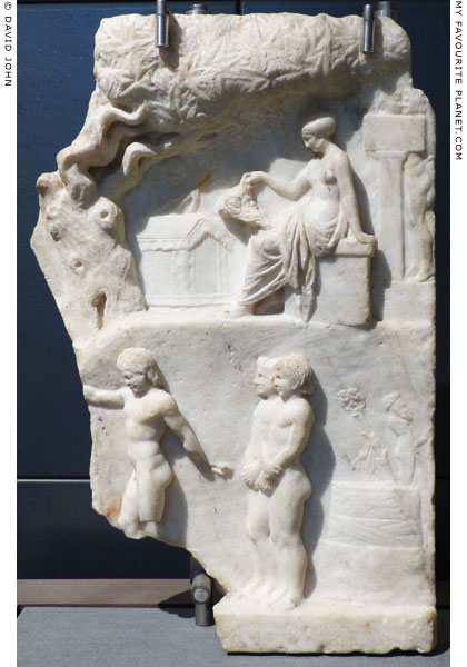 A marble relief representing a Dionysiac initiation scene at My Favourite Planet