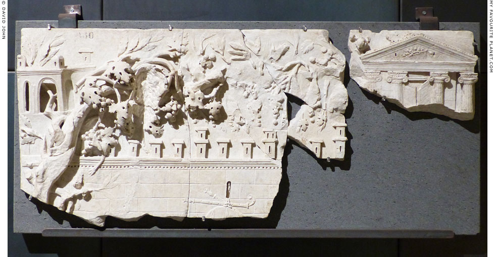 A marble relief representing a rural Dionysian sanctuary at My Favourite Planet