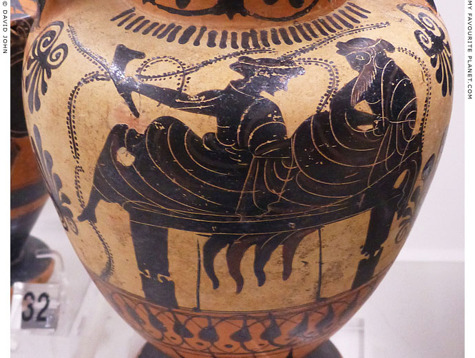 Attic black-figure amphora showing Dionysus and a female figure on a kline at My Favourite Planet