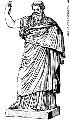 Engraving of the Vatican Sardanapalos statue by Winckelmann at My Favourite Planet