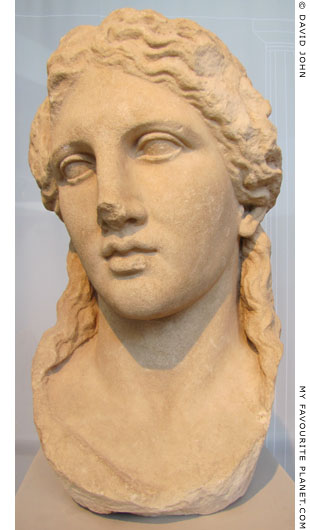 Marble head of a statue of youthful Dionysus from Thasos at My Favourite Planet