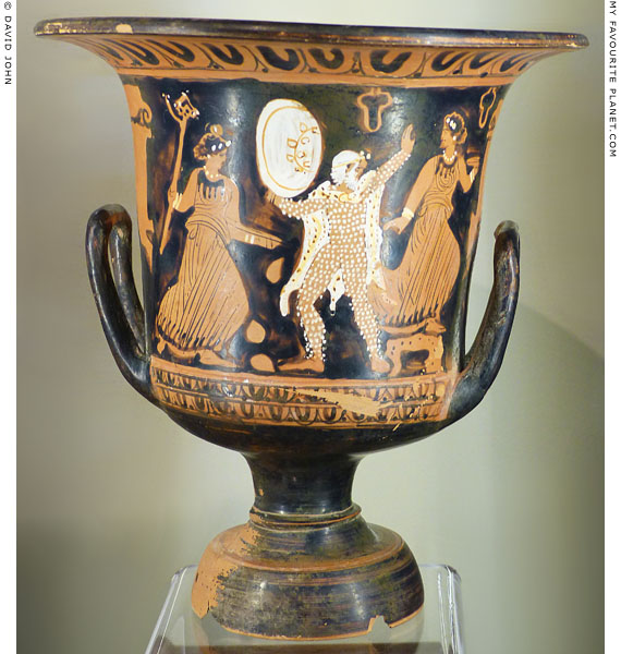 Actors playing Papposilenos with two Maenads on a red-figure krater at My Favourite Planet