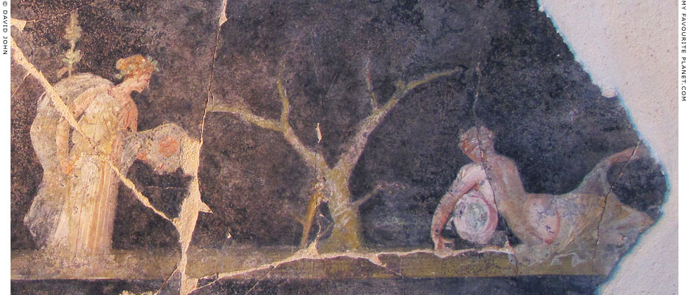 Fresco of Dionysus discovering the sleeping Ariadne on Naxos at My Favourite Planet