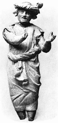 Hellenistic terracotta figurine of a tympanon player from Myrina, Mysia at My Favourite Planet