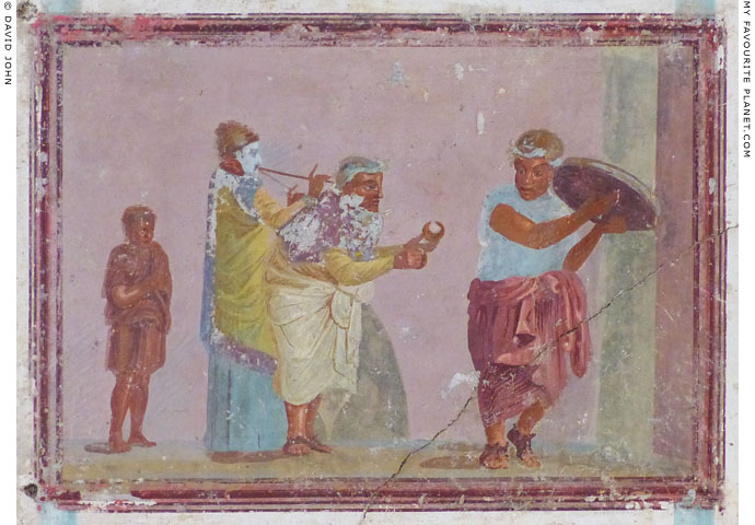 A Roman fresco painting of strret musicians, from Samos at My Favourite Planet