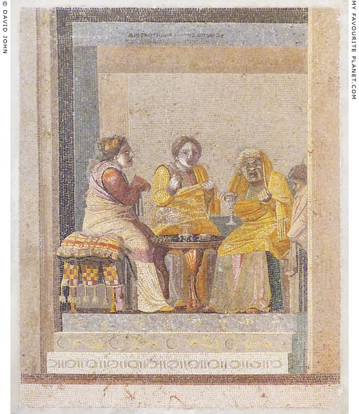 Mosaic panel of women sitting at a table, signed by Dioskourides of Samos at My Favourite Planet