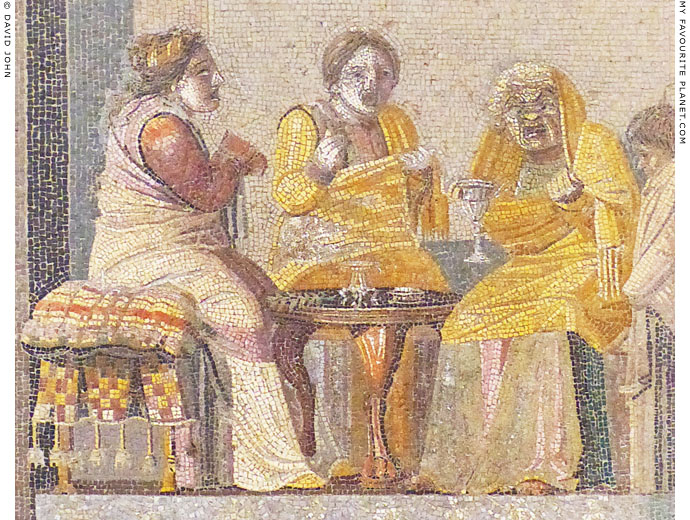 Detail of the mosaic of the women by Dioskourides of Samos at My Favourite Planet