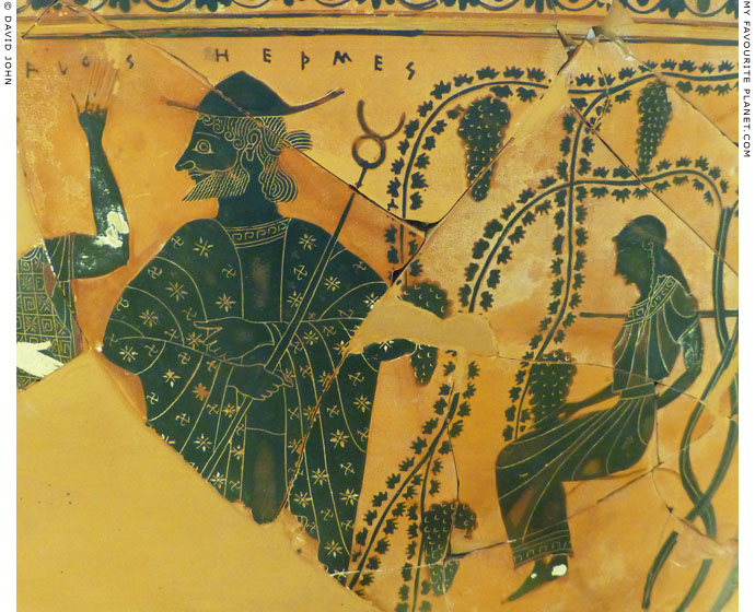 Detail of an Attic calyx-krater by Exekias depicting Hermes at My Favourite Planet