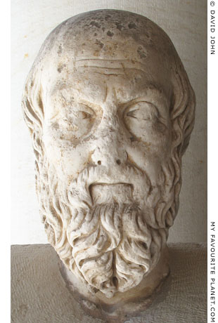 Marble head of Herodotus in the Agora Museum, Athens, Greece at My Favourite Planet